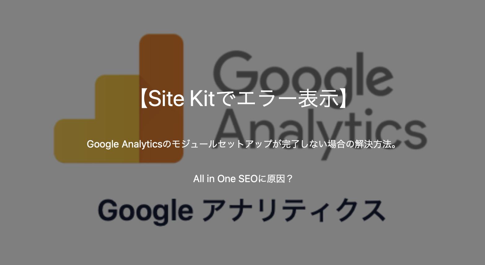 【Site Kitでエラー表示】Google Analyticsのモジュールセットアップが完了しない場合の解決方法。All in One SEOに原因?